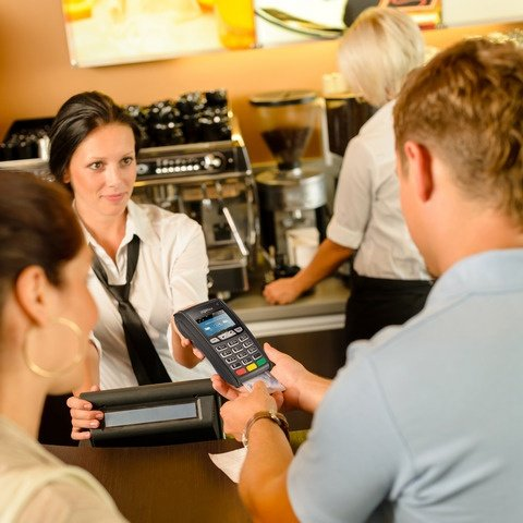 Wireless terminals being used at a cafe